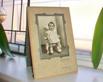 Vintage Photograph Adorable Baby Girl Art Deco Frame 7.75 x 5.25 Inches