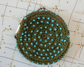 40's Corde Tiny Pouch Aqua Olive Beaded Crochet Coin Purse Bag