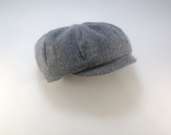 Gray Herringbone Cap, Baby Newsboy Hat, Boys Newsboy Cap, Paperboy hat, Pageboy hat, Newspaper boy hat, Baby boy hat, Toddler boy hat, rts
