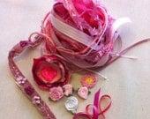 pink dreams. yarn bundle. fibre effects. embellishment bundle. ribbons trims 12 metres plus more