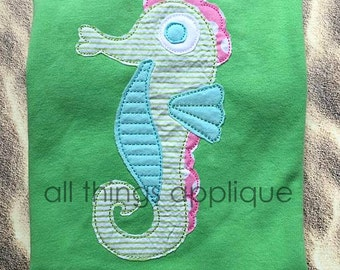 Seahorse 2 Applique BEAN Stitch (#639)- Machine Embroidery Design - 4 Sizes - INSTANT DOWNLOAD