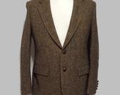 Mens Vintage Harris Tweed Anthony Allan Two Button Front Sport Coat Blazer Jacket Suit Jacket
