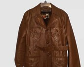 Mens Brown Spanish Leather Short Trench Style Coat Jacket Victory K Zip Out Faux Fur Lining