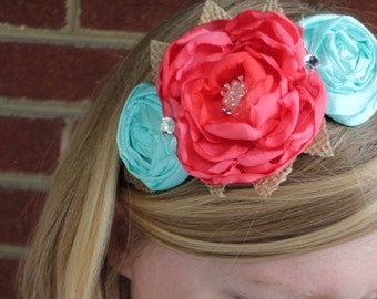 Burlap, coral and aqua flower trio metal wrapped headband. fits women and children.