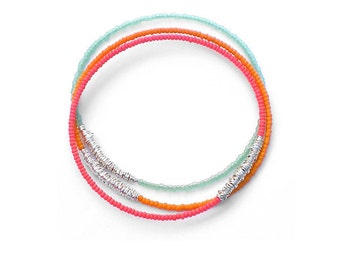 Beaded Bracelet Stack // Set of 3 Bangle Bracelets // Silver, Coral, Orange & Mint Seed Bead Bracelets // Eco-Friendly Jewelry / Summer Gift
