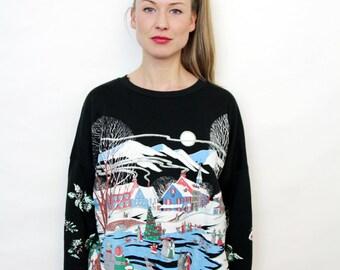 90s Grunge Vintage Christmas Graphic Crewneck Sweatshirt Oversized Sweater