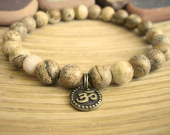 Mens Om Bracelet - Picture Jasper Bracelet with Tulsi Wood Mala Bead, Mens Bracelet with Brass Charm