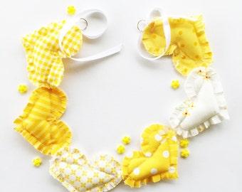Garland, yellow fabric garland, bunting, sewn garland, fabric garland, fabric bunting, heart garland, yellow bunting,yellow decor
