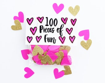 Party Confetti- 100 pieces of hot pink and gold confetti, pink wedding, hot pink shower, hot pink birthday, gold and hot pink decor