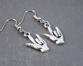 ASL Jewelry - Hand Earrings - I Love You Earrings - I Love You Jewelry - Sign Language Jewelry - ASL Earrings - ASL Interpreter