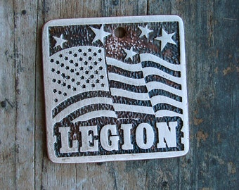 Stars and Stripes Pet Tag, American Flag Pet ID Tag, Etched Brass Dog Tag 1.25 in square
