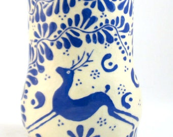 Handmade Art Pottery VASE, Sgraffito Carved Blue DEER Graceful Leafy Design,Personalize Color, Functional Ceramic Art, Folk Art Inspired