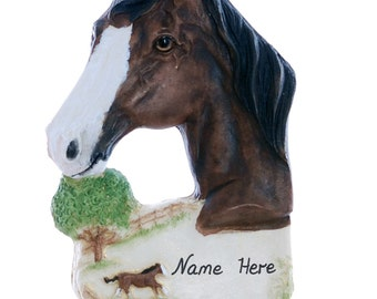 Personalized Horse Christmas ornament - brown horse ornament personalized with name of your choice (h73)