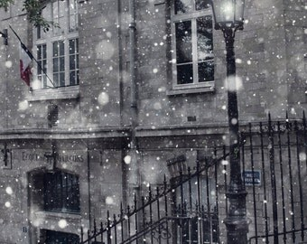 Paris Winter Photo, Fine Art Photography, Paris Print, Magical, Winter Decor, Snow, Urban, Lantern, Holiday, Lamppost, Black and White