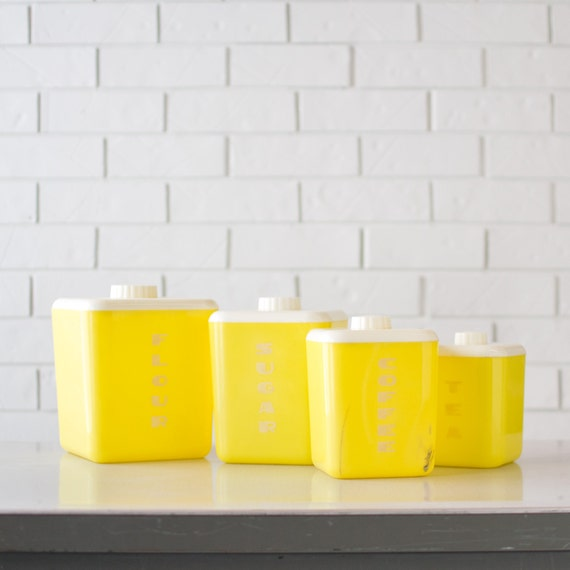 Retro Yellow Kitchen Canisters - Yellow Lustro Ware Canisters - Vintage Kitchen - Set of 4