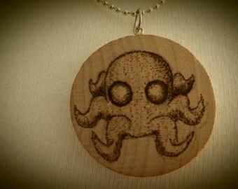 Octopus Kraken Sea Monster Pendant Wooden Pyrography Drawing Beech Disc OOAK