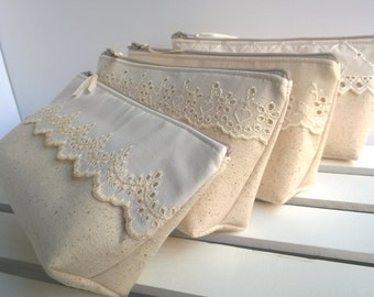 Set of 9 - Linen Lace Bag Clutch Set Rustic Wedding Vintage Lace Bag Purse Personalize Bridesmaid Party Custom Pouch Gift Set Make-Up