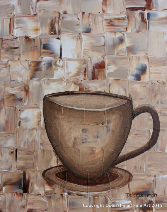 tasse caf peinture oeuvre de caf au lait par dobrishmanart. Black Bedroom Furniture Sets. Home Design Ideas