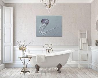 Jellyfish Canvas Wrap, Monochromatic Art, Large Wall Decor, Bathroom Canvas Art, Purple Nature Photo Canvas, Black and White Canvas