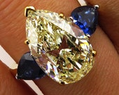 "Reserved. Estate ""Canary"" 5.90ctw Natural Fancy YELLOW Pear Shaped Diamond and Sapphire Trilogy 18k Gold Ring - Video"