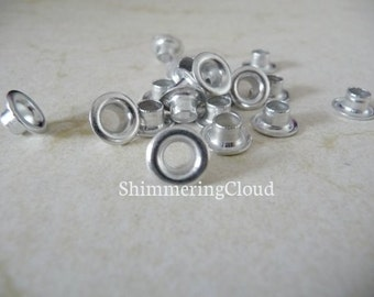 Silver Rivets, raw aluminum, aluminum rivets, antisilver, metal jewelry findings, supplies, silver tone, grommets, eyelets