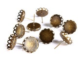 10 pc (5 pairs) 12mm earstud antique brass findings - Lace edge earring - nickel free (1495) - Flat rate shipping