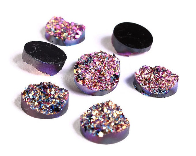 12mm Purple pink gold blue round resin cabochon - Faux druzy cabochon - Faux drusy cabochon Textured cabochons (1216-1) - Flat rate shipping