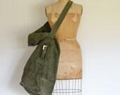large military canvas duffel bag / seabag / olive green / boho
