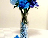 Blue Roses and Chocolate Kisses , Hershey's Chocolate Kisses , SILK FLOWER Bic Ink PENS // Flowers And Candy // Bouquet