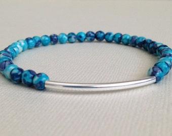 Stretch Bracelet,Ocean Jade,Blue,Purple,Sterling Tube Bead,4mm