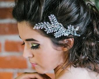 Olive leaf rhinestone crystal bridal comb headdress in Silver crystal. roman, greek goddess, boho bride, Wedding day, bridesmaids accessory