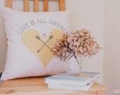 Soft Pink Love Pillow, Throw Pillow, Decorative Pillow, Yellow Mustard Pink Throw Pillow, Love Cushion, Mustard Heart Pillow, Nursery Pillow