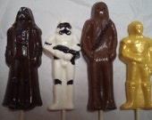 12 Star Wars Full Figures Hand Painted Chocolate Lollipops Party Favors