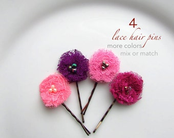 """PICK 4 Small Hair Flowers Tiny Clips Girls Hair Pins for Toddler, Rose Fuchsia Pink Purple Plum, Pearl Hairpin, 1"""" Shabby Flower Baby Bobby"""