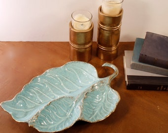 California Pottery Leaf Platter, Server, Mint Green and Gold, Vintage Mid Century Retro Tray