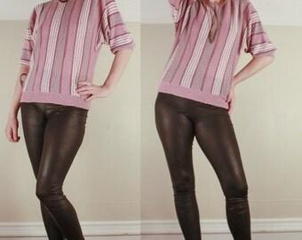 Vintage 70's Purple Striped Pullover SWEATER // Mauve Jumper // Size Large