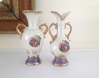 Mid Century Modern Flower Vases,  Made In Japan, Pottery Vase 1960s, Victorian Empress by Haruta Japan Bud Vase