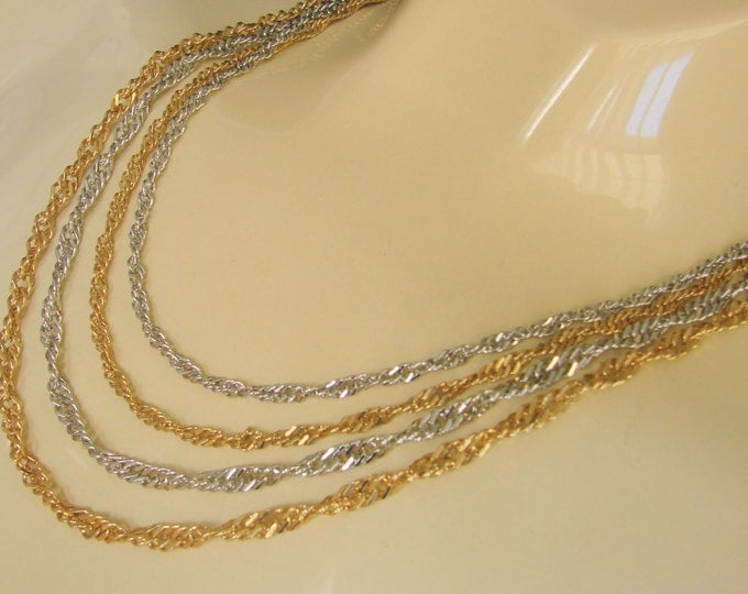 Vintage Multi-Chain Diamond Cut Necklace / Goldtone / Silvertone / 80s Jewelry / Jewellery