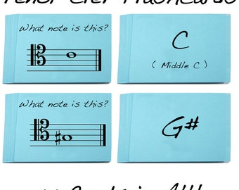 Tenor Clef Note Name Flashcards - Brand new item. Great for Viola, Trombone, Bassoon, and Double Bass