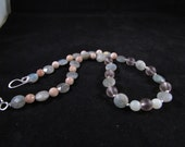 Labradorite and moonstone hand beaded necklace, hand beaded necklace, hand beaded gemstone necklace, hand beaded pink and grey necklace