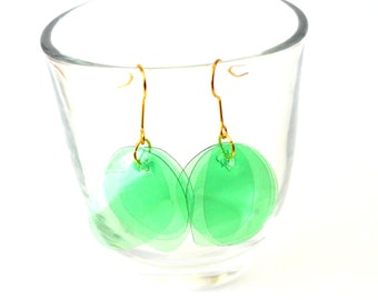 Recycled plastic earrings eco friendly jewelry emerald green earrings upcycled jewelry everyday earrings sustainable jewelry simple earrings