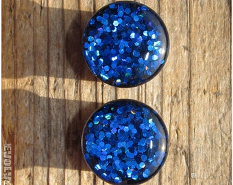00g, 10mm - READY TO SHIP - Sapphire Dragonscale Glitter Plugs | 10% Off