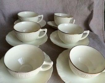 Vintage Gold Rimmed Milk Glass Teacups and Saucers- Set of 6