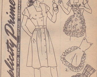 Rare 1940s Dress with Snap On Apron Pattern Simplicity 1159 Size 14