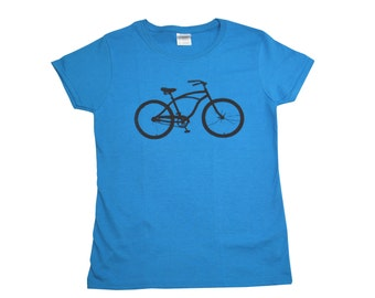 Bike Screen Printed Women's T-Shirt S M L XL 2XL Bicycle Shirt