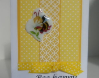 """Bee Happy Card -  Handmade Greeting Card with bumble bee and """"bee happy"""""""