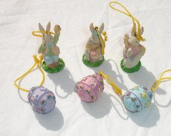 Easter Bunnies & Eggs Polyresin Ornament Set - 6 pcs