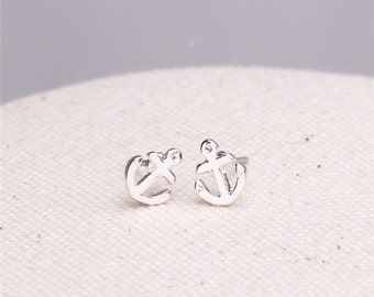 Make a wish silver plated tiny anchor earrings