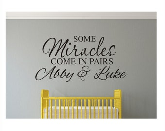 Some Miracles Wall Decal Come in Pairs Wall Decal Vinyl Wall Decal Children Kids Nursery Bedroom Wall Decal Housewares Nursery Bedroom Decal
