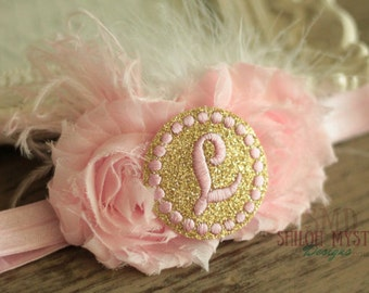 Pink and Gold Initial Headband-Pink and gold headbands-gold and pink bows-Pink and gold headband